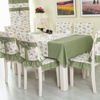 Price Checker Bening minimalis pedesaan RESTONIC Meja tamu Meja makan Kain sarung kursi Set Persegi Panjang