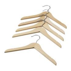 IKEA HANGA Gantungan hanger PREMIUM baju jaket anak, warna kayu natural / putih, Set isi 5