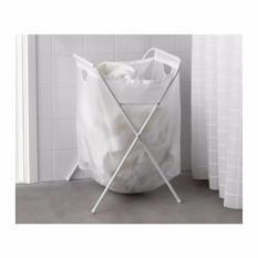 IKEA Jall Keranjang Cucian Lipat - Tempat Pakaian Baju Kotor - Laundry Basket Ukuran 70 L - Putih