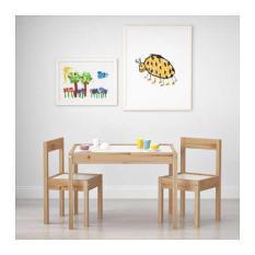 IKEA LATT Meja anak dengan 2 kursi bahan kayu pinus