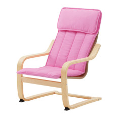 IKEA POÄNG Kursi berlengan anak, veneer kayu birch, merah muda