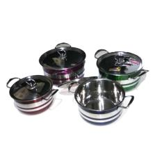 Indoglass Panci Set Stainless Cookware Warna 8Pcs [4pcs Panci dan 4pcs Tutup Stainless]