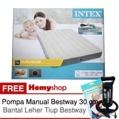 INTEX DuraBeam Double 64708 Kasur Angin / Kasur Udara Ukuran [137x191x25 cm] Free Pompa Manual Bestway+Bantal Leher Tiup