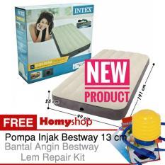 INTEX DuraBeam Twin 64707 Kasur Angin / Kasur Udara [99x191x25 cm] Free Pompa Injak Bestway+Bantal Kepala Bestway & Lem Repair Kit