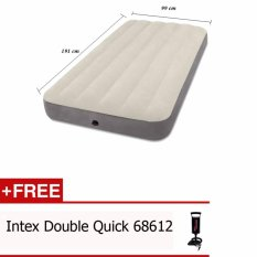 INTEX Kasur Angin Twin Deluxe Single High Airbed 64707 Free Pompa Intex 68612