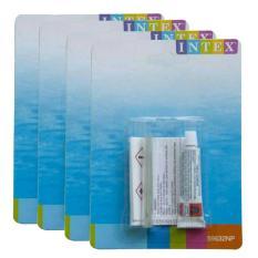 4 pcs INTEX Lem Repair Kit Penambal Kebocoran Kasur Angin / Kolam Pompa / Air Mat / Bola Mainan