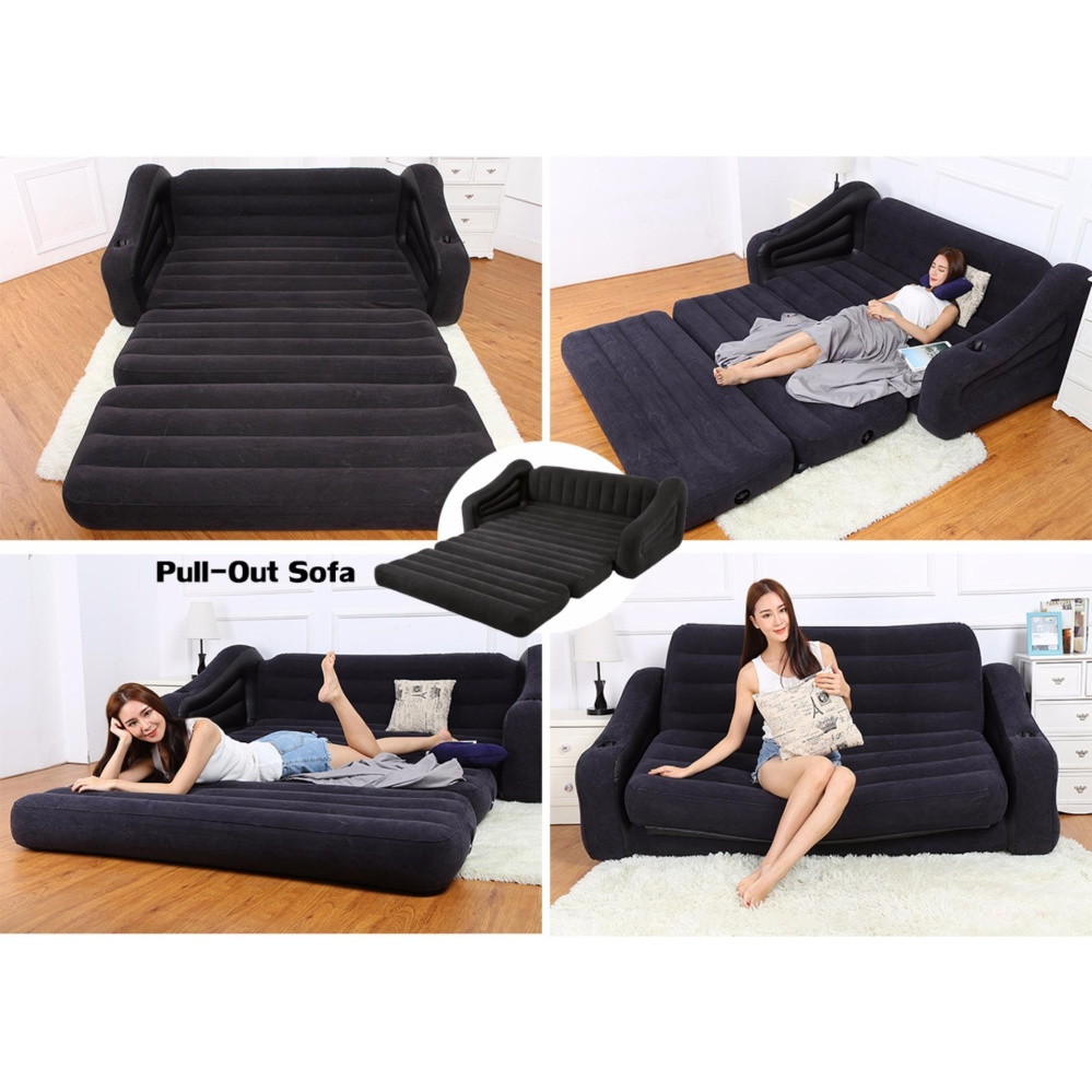 Intex Pull Out 2 in 1 Sofa Bed (Hitam) Sofa bed Angin Lipat 68566