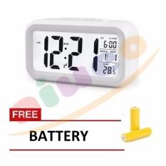 ION Smart Digital LCD/LED Alarm Clock Temperature Calendar Auto Night Sensor Clock - White Gratis Baterai 3 Pcs