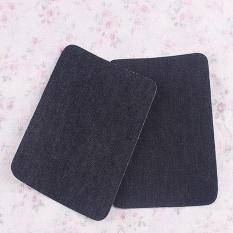 Besi On Denim Jeans Patch Perbaikan Siku Lutut Patch Jahit Kain Bordiran DIY 2 Pair Hitam