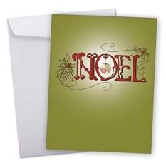 J6646HXSG Jumbo Merry Natal Kartu: Alpukat Hijau Natal, Menampilkan Elegan Sentimen Natal Noel Dalam Merah dan Hijau dengan Envelope-Intl