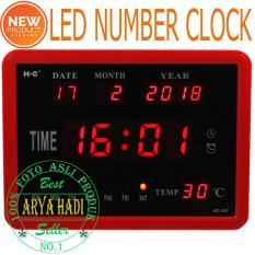 Jam Digital HC-007 Ukuran 23x17 CM LED Merah / Jam Dekorasi Rumah / Jam Dinding Temperatur Suhu
