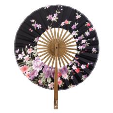 Windmill Circle Putaran Kipas Tangan Jepang Sakura Bunga Kipas Lipat Hitam