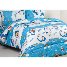 Jaxine Bedcover Set Katun Motif Doraemon Rainbow