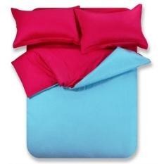 LATOPEE - Jaxine bedcover set satin/katun jepang polos blue red wine