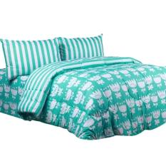Jaxine Katun Motif Loly Poly Set Sprei Dan Bed Cover - Green