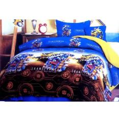 Jaxine Katun Motif Transformer Set Sprei Dan Bed Cover - Blue