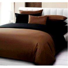 Harga Hemat Jaxine Polos Coklat Hitam Sprei With Bed Cover Katun Coklat Hitam