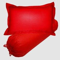 Spesifikasi Jaxine Set Sarung Bantal Guling Kingkoil Polos Merah Lengkap
