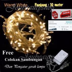 JBS Lampu Hias LED 10 Meter Warm White/ Lampu Natal + Free Colokan Sambungan Kabel