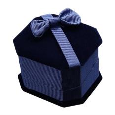 Jewelry Gift Box Ring Penyimpanan Ikatan Simpul Anting Display Case (Sapphire Blue)