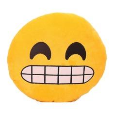 Jiayiqi Cantik Kuning Bulat Emoji Bantal Bantal Bantal Belakang Sofa Seat Toy Stuffed Plush Doll-Intl