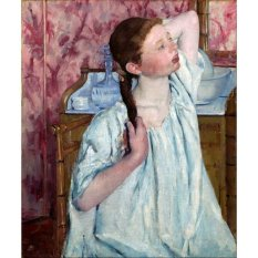 Jiekley Fine Art - Lukisan Girl Arranging Her Hair Karya Mary Cassatt - 1886