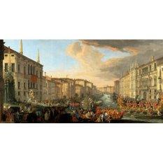 Jiekley Fine Art - Lukisan Regatta on the Grand Canal in Honor of Frederick IV, King of Denmark Karya Luca Carlevarijs - 1711