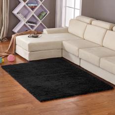 Jingle Anti-Skid Shaggy Ruang Makan Kamar Tidur Fluffy Rugs Karpet Tikar 80 Cm * 120 Cm (Hitam)