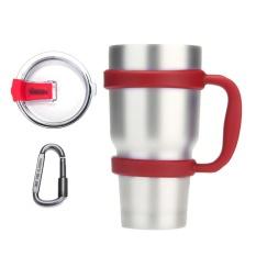JinQS Anti-Slip Menangani Yeti Rambler Ozark Trail 30 Oz Tumbler Colorful Cup Mug Grip Holder dengan Sliding Tutup Carabiner (Set 3, Merah)-Intl
