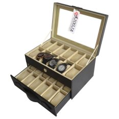 Jogja Craft Black Cream Watch Box - Kotak Jam Tangan Isi 24 - Hitam