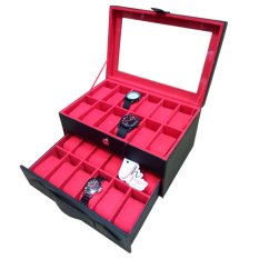 Jogja Craft Black Red Watch Box - Kotak Jam Tangan Isi 24 - Hitam