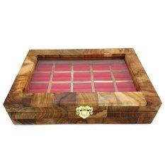 Jogja Craft Box Kotak Cincin Batu Akik Kayu Jati Mozaik Isi 20 Ring - Cokelat