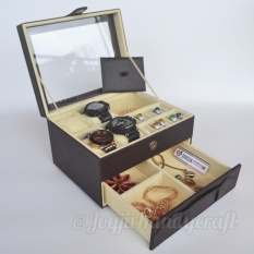 Toko Jual Jogja Craft Box Kotak Jam Tangan Isi 4 Jumbo Mix Tempat Perhiasan Aksesoris Coklat Krem