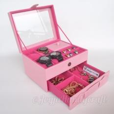 Jogja Craft - Box Kotak Jam Tangan isi 4 JUMBO Mix Tempat Perhiasan  & Aksesoris (Pink)