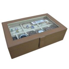Jogja Craft Brown Mocca Watch Box / Kotak Jam Tangan Isi 6 Mix Ring Holder - Cokelat