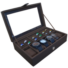 Jogja Craft Brown Watch Box - Kotak Jam Tangan Isi 6 Mix Ring Holder - Cokelat