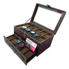 Jogja Craft - Damier Watch Box Organizer / Box Jam /  Kotak Tempat Jam Tangan Isi 24