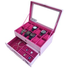 Jogja Craft Kotak Tempat Jam Tangan Kombinasi Laci Tempat Perhiasan - Pink