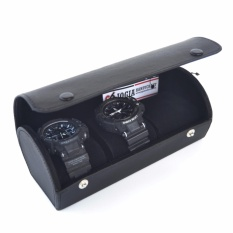 Jogja Craft - Travel Watch Case / Kotak Tempat Jam Tangan Isi 3 Tabung (Black)