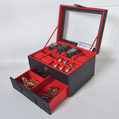 Jogja Craft - Watch Box Mix Jewelry / Kotak Tempat Jam Tangan Isi 6 dan Perhiasan Susun (Black Red)