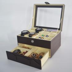 Jogja Craft - Watch Box Mix Jewelry / Kotak Tempat Jam Tangan Isi 6 dan Perhiasan Susun (Brown Cream)