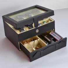Jogja Craft - Watch Box Mix Jewelry / Kotak Tempat Jam Tangan Isi 6  dan Perhiasan Susun (Hitam Krem)