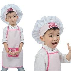 Toko Junior Chef Polyester Kids Celemek And Chef Hat Anak Memasak Bayi Celemek Avental De Cozinha Divertido Pakaian Luar To Work Apron Merah Muda Oem