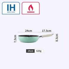 Justcook 24 Cm Wajan Panci Penggorengan Non-stick Tanpa Asap Dapur Memasak Alat Penggunaan Umum untuk Gas dan Induksi Cooker Hijau-Intl