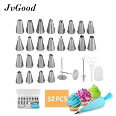 Jvgood 32 Pieces Cake Decorating Supplies Kit dengan 24 Tip Icing, 1 Silicone Pastry Tas, 2 Bunga Kuku, 2 Reusable Plastik Skrup Baking Supplies Frosting Set Alat untuk Cupcakes Cookie