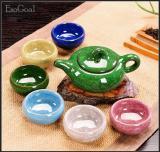 Jvgood 7 Pcs Tea Pot Teko Cangkir Keramik Set Teh Warna Pelangi Es Retak Kaca Kung Fu Tea Set Diskon Tiongkok