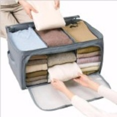 Kado Unik-- 3 Window Storage Bag Cloth Organizer Box - Tempat Pakaian Baju Celana