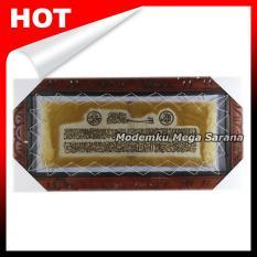 Kaligrafi Ayat Kursi 2 Baris Kulit Kambing Kualitas Ekspor - 60x30 Cm - Coklat Ukir Cuik