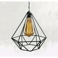 Kap Lampu Gantung Diamond Industrial Design ---O0o--- Hias Minimalis Dekorasi Kafe Rumah Cafe Vintage Retro Rustic Pendant Cage Besi - Kool Katz