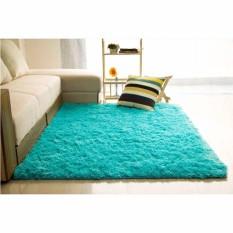 Karpet Bulu Berbulu Anti Selip Tikar/Karpet Permadani Yang Menutupi Lantai 150x100cm Biru